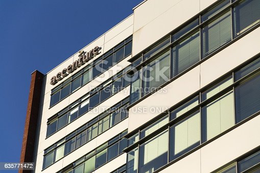 Prague, Czech republic - December 16, 2016: Accenture global professional services company logo on Czech headquarters building on December 16, 2016 in Prague, Czech republic. In 2016, Fortune magazine named it the worlds most admired Information Technology Services company.