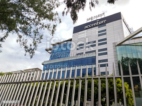 Bangalore, India - December 12, 2015: One of several offices of global consulting firm Accenture in Bangalore, India. Accenture has more than 100,000 employees in India. Accenture is a global management consulting, technology services and outsourcing company, with more than 323,000 people serving clients in more than 120 countries.
