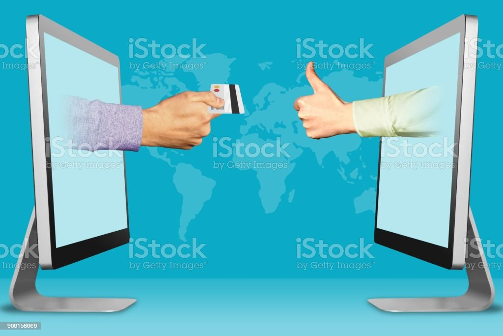 Accept credit cards concept, two hands from laptops. hand with credit card and thumbs up, like. 3d illustration - Royalty-free Cartão de Crédito Foto de stock