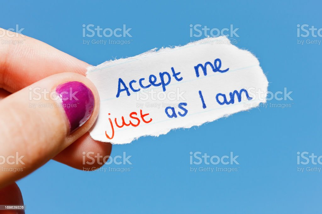 Accept me just as I am says hand-drawn note royalty-free stock photo
