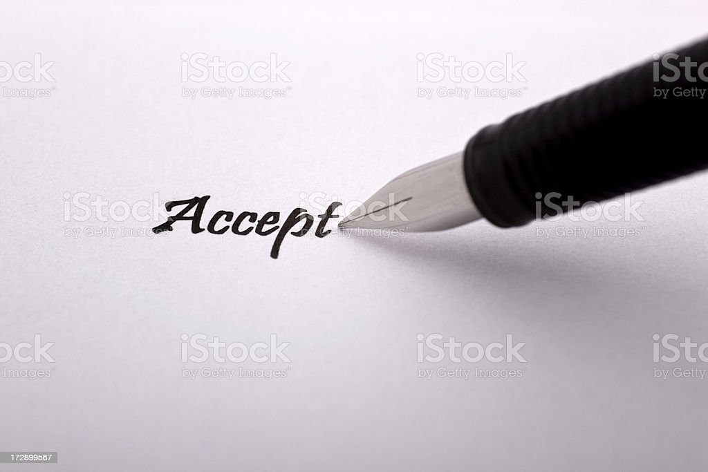 Accept with Pen royalty-free stock photo