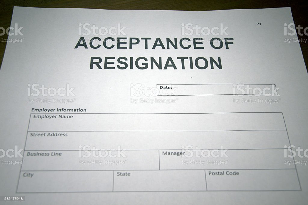 Acceptance Of Resignation Stock Photo More Pictures Of Agreement
