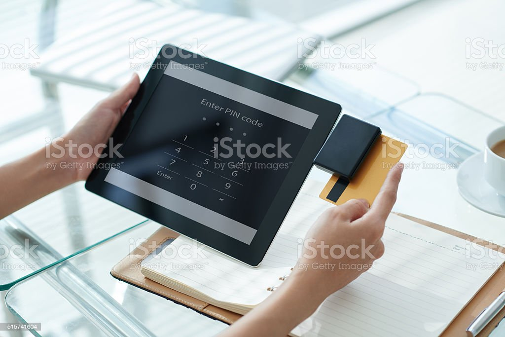 Accepting payment stock photo