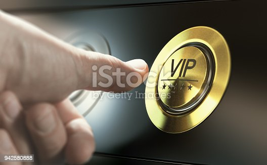 Man with private access to VIP services pressing a button to ask a concierge. Composite image between a hand photography and a 3D background.