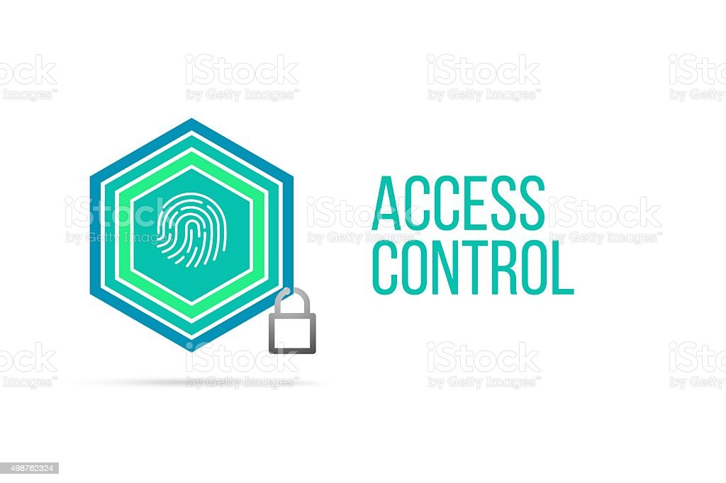 Access control concept image with pentagon shield and lock illustration stock photo