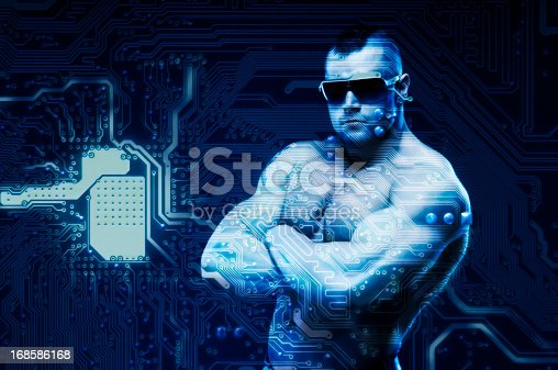 istock Access denied! Cyber security concept with digital being - sentinel. 168586168