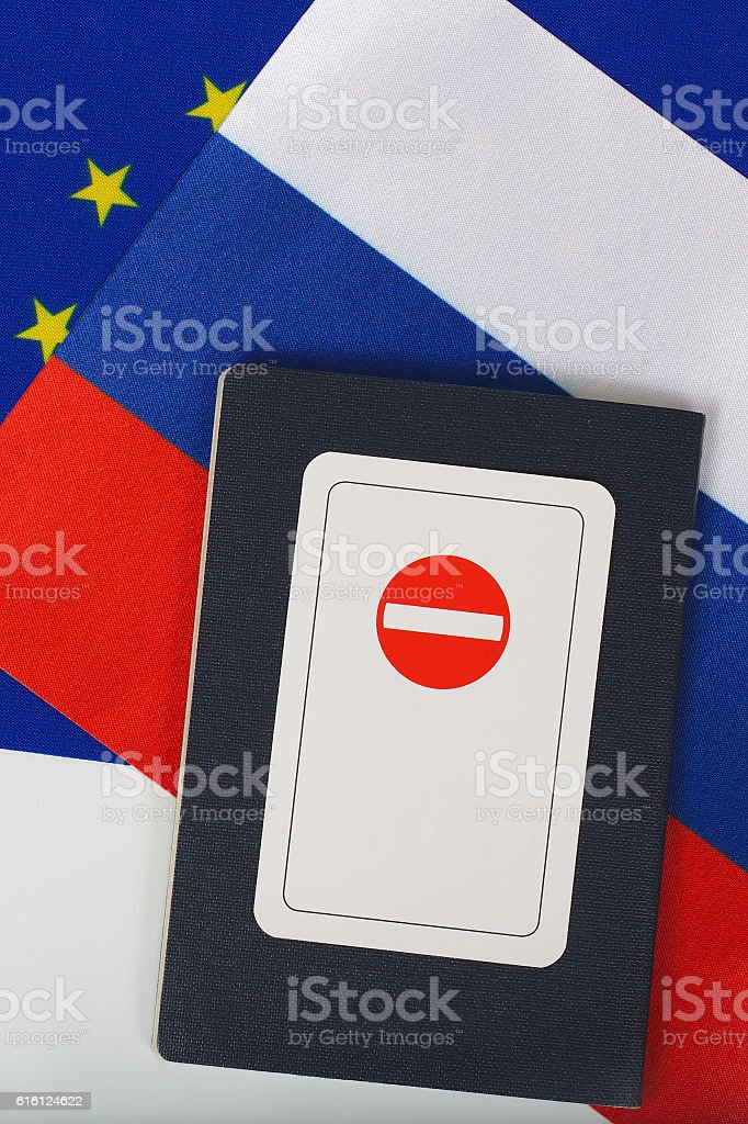 Access forbidden. The card is placed on a travel pass stock photo