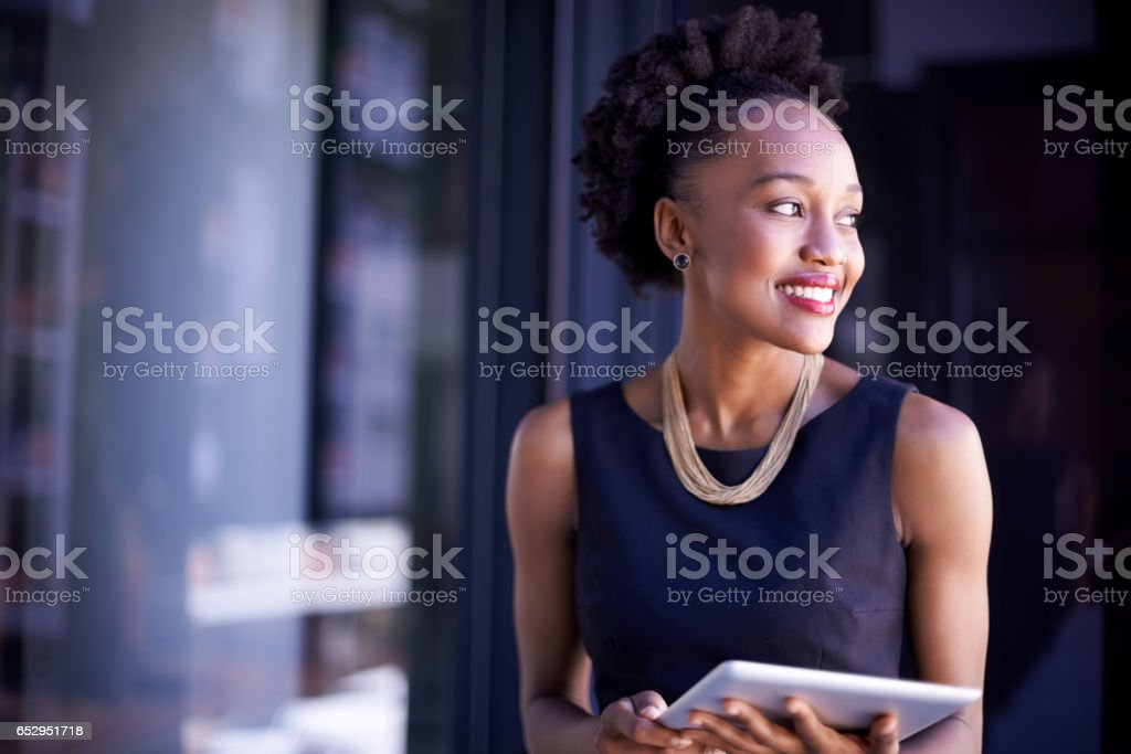 Access to information whenever and wherever she needs it stock photo