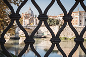 Access to the Vatican from a Roman bridge over the Fiume Tevere in Rome Italy