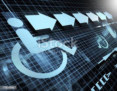 istock Accessibility symbol in a digital representation 179245557