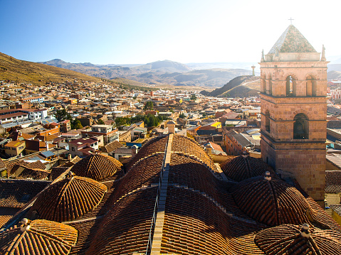 Accessible rooftop with bell tower of San Francisco Convent, Potosi, Bolivia, South America