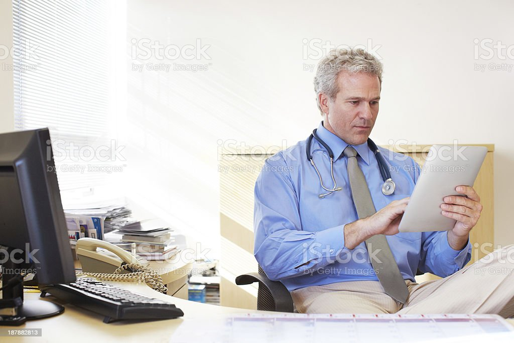 Accessing patient records at a touch royalty-free stock photo