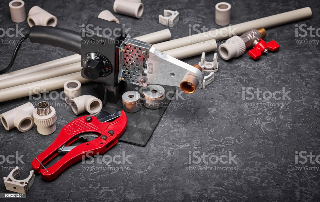 Accessories and tools for sanitary engineering systems stock photo
