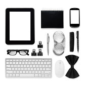 This is an overhead photo of a man's personal accessories isolated on a white background. There are no Apple products used in this photograph.