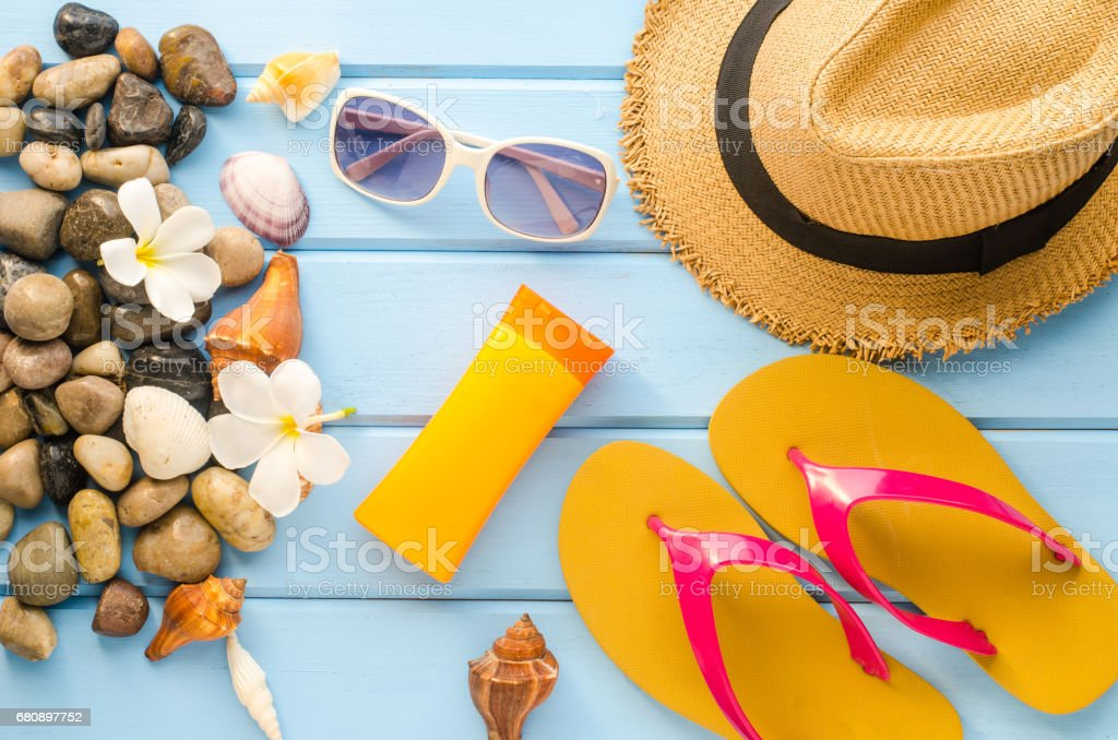 Accessories costume with travel for summer on blue wooden floor royalty-free stock photo