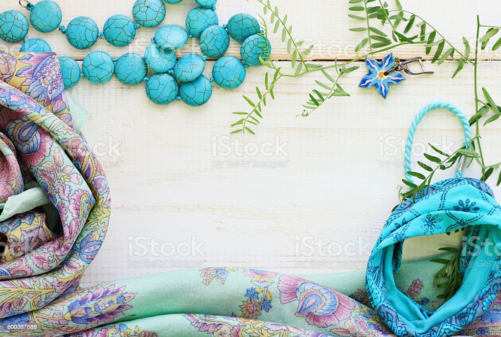 accessories feminine floral background stock photo