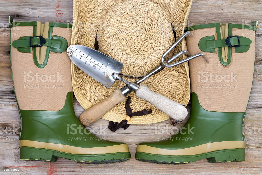 Accessories for a fashionable gardener stock photo
