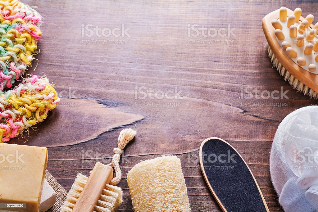 accessories for bathroom on vintage wooden board with copyspace stock photo