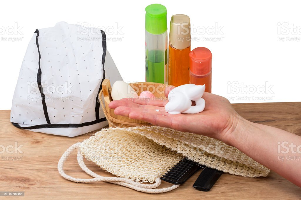 Accessories for baths and saunas stock photo