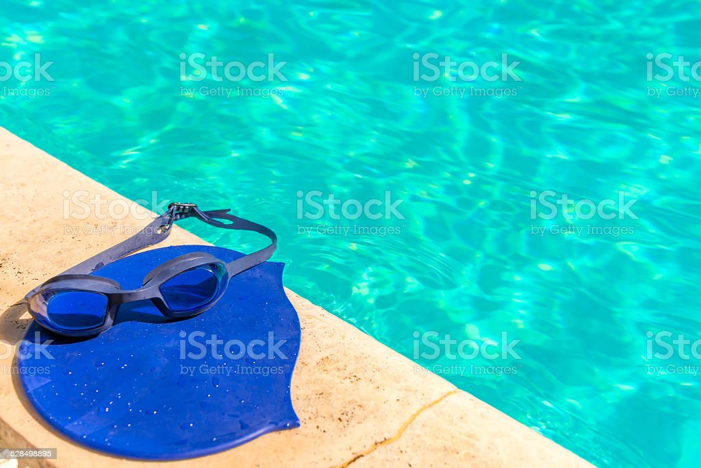 accessories for competitive swimming at the edge of the pool stok fotoğrafı