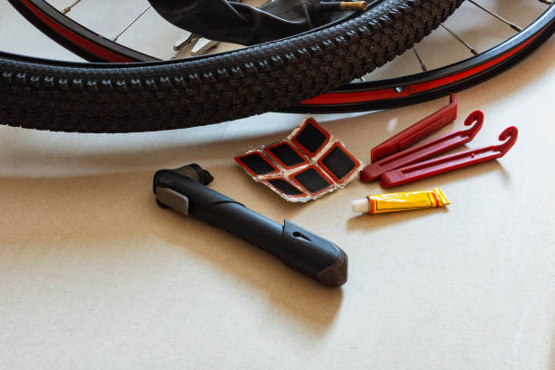 Accessories for gluing holey bicycle chambers stock photo