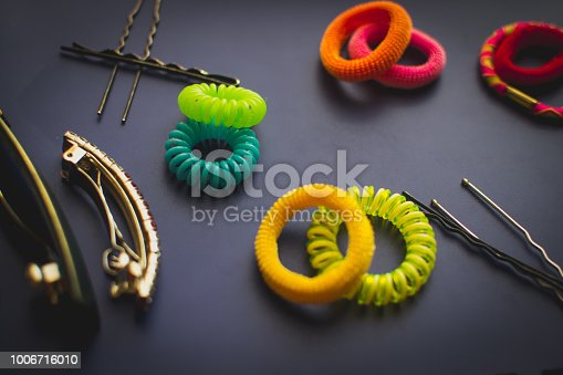 Accessories for hair, different colored rubber bands Bobby pins and hair