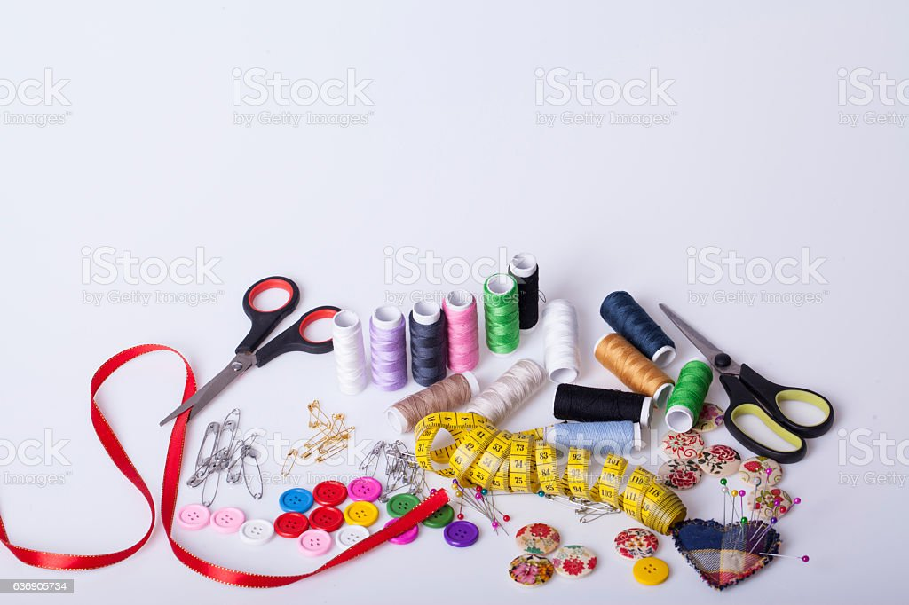 Accessories for hand sewing stock photo