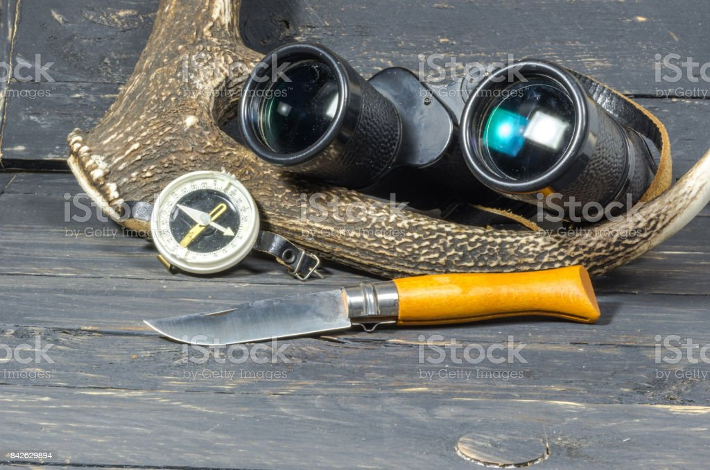 Accessories for hunting. Binoculars, a knife and a compass lie near the antler. stock photo