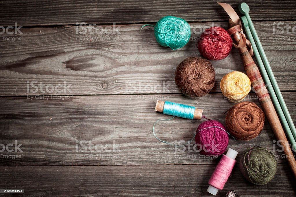 Accessories for knitting background stock photo