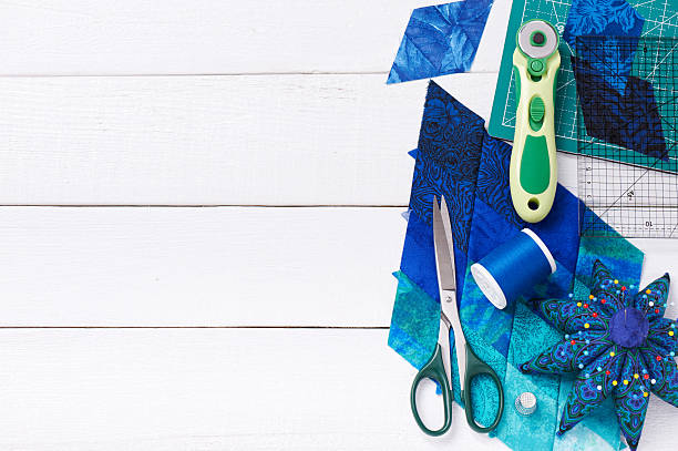 accessories for patchwork top view - quilt stock photos and pictures