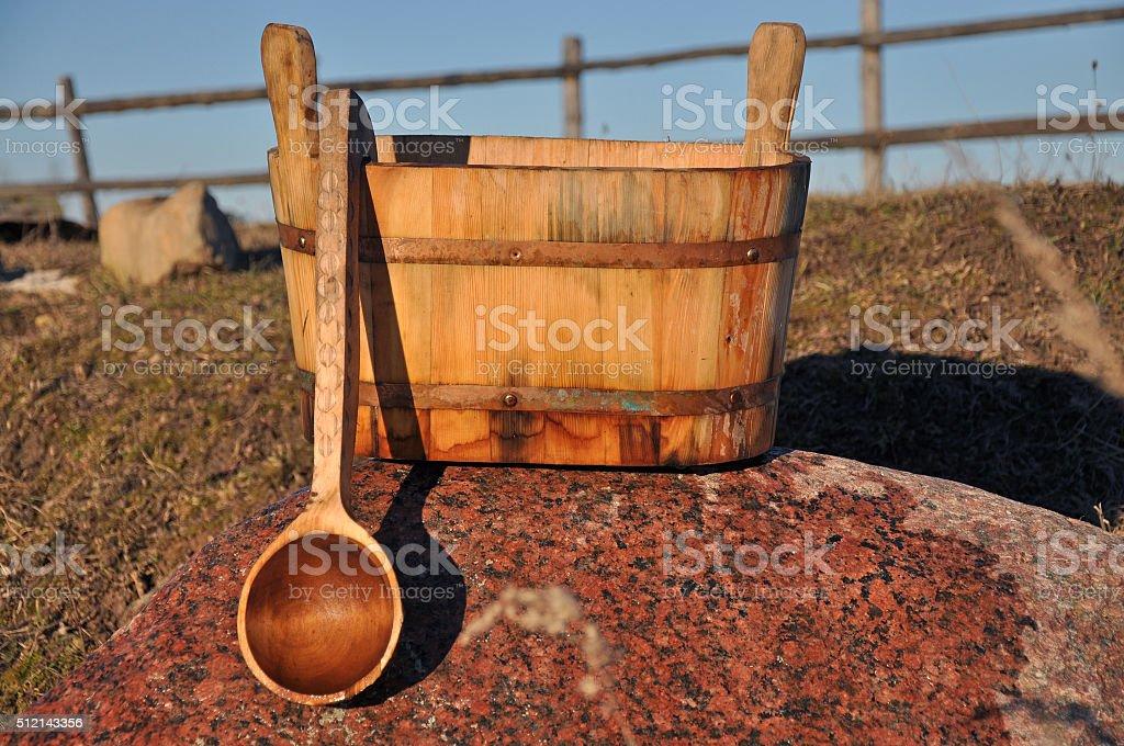 Accessories for Russian bath near the river stock photo