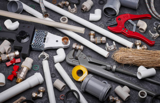 Accessories for sanitary systems stock photo
