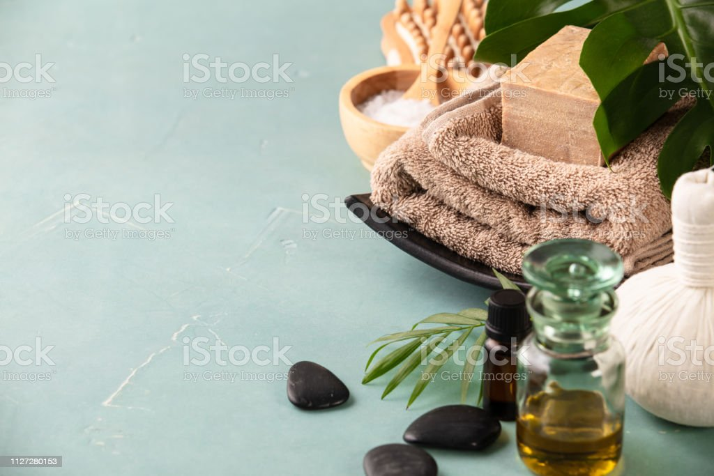 Accessories for spa procedures. Natural ingredients for beauty. stock photo