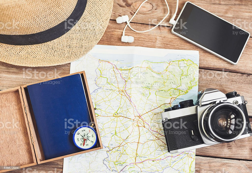 Accessories for travel stock photo