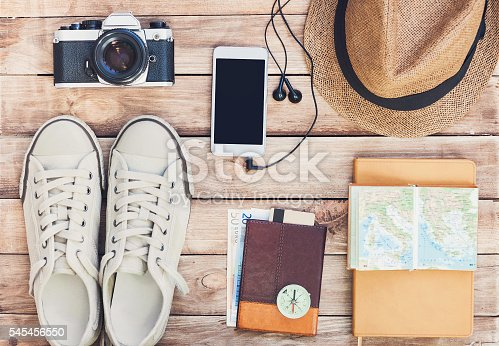istock Accessories for travel 545456550