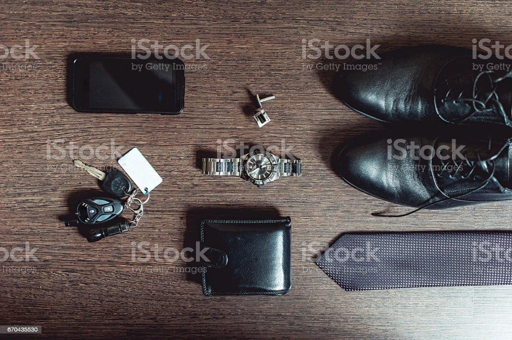 Accessories groom\'s wedding day. Wallet watch cufflinks tie shoes...