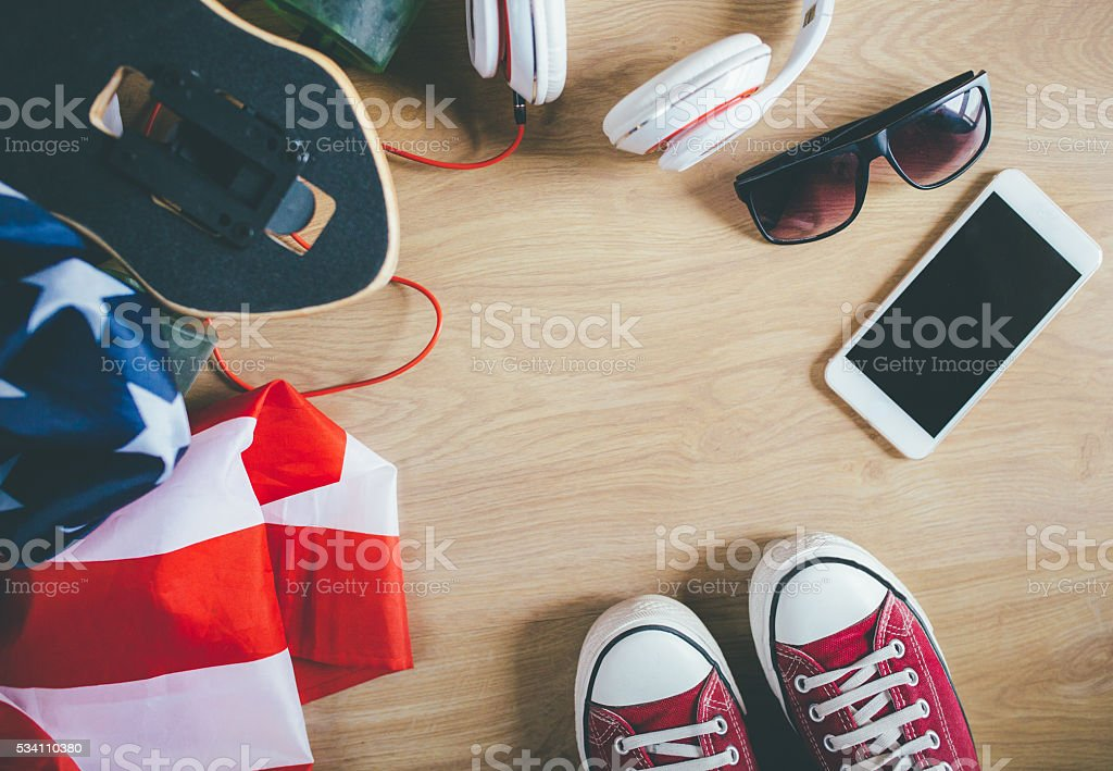 Accessories of American urban skater stock photo