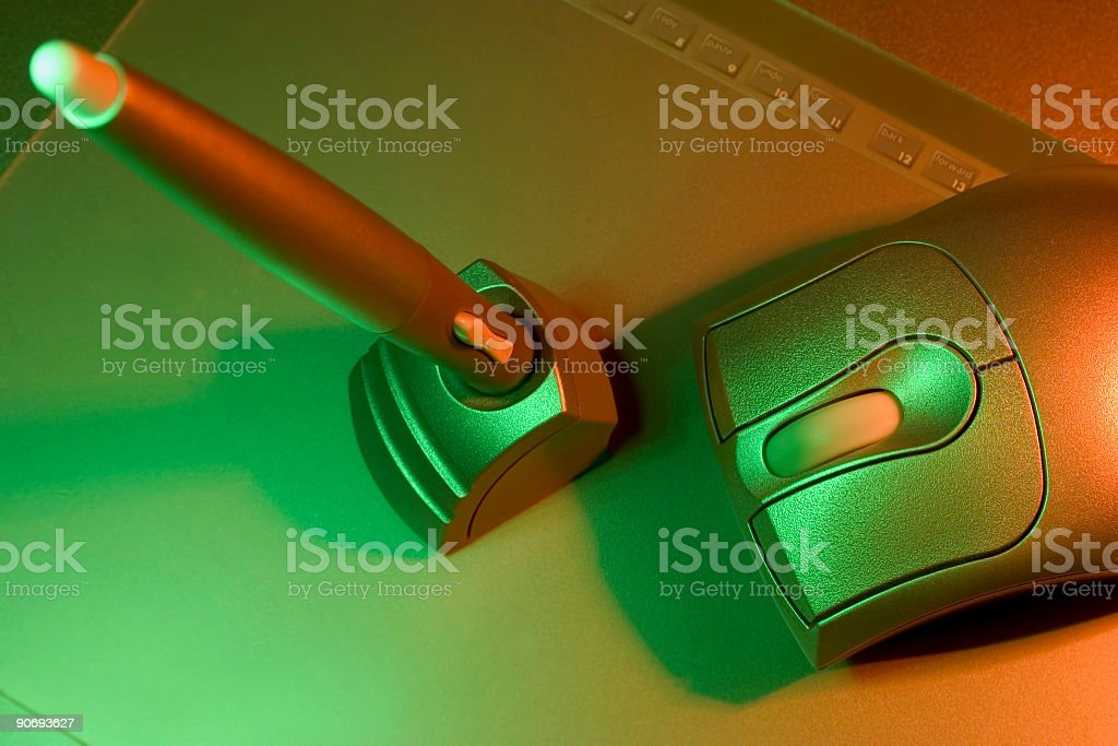 Accessories, Pen and Mouse stock photo