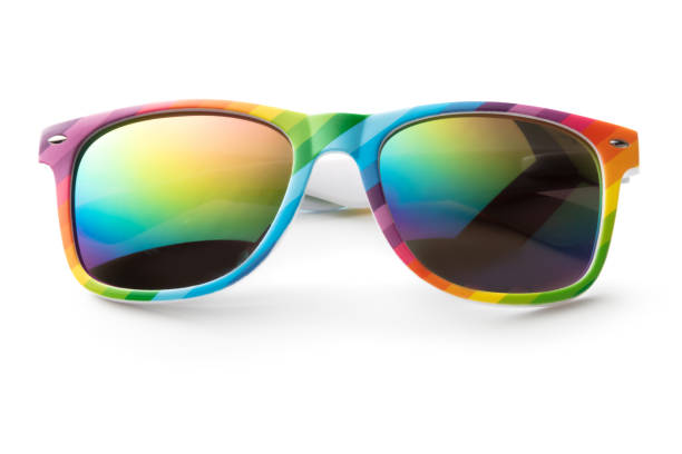 Accessories: Rainbow Sunglasses Isolated on White Background stock photo