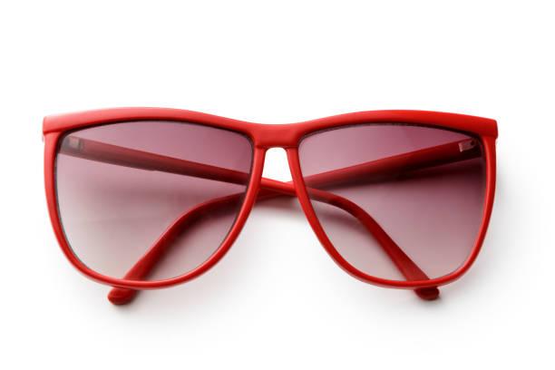 acessórios: óculos de sol isolados no fundo branco - óculos escuros acessório ocular - fotografias e filmes do acervo