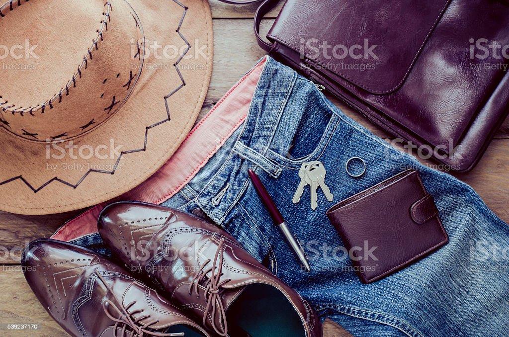 accessory for men, placed on a wooden floor. foto de stock libre de derechos