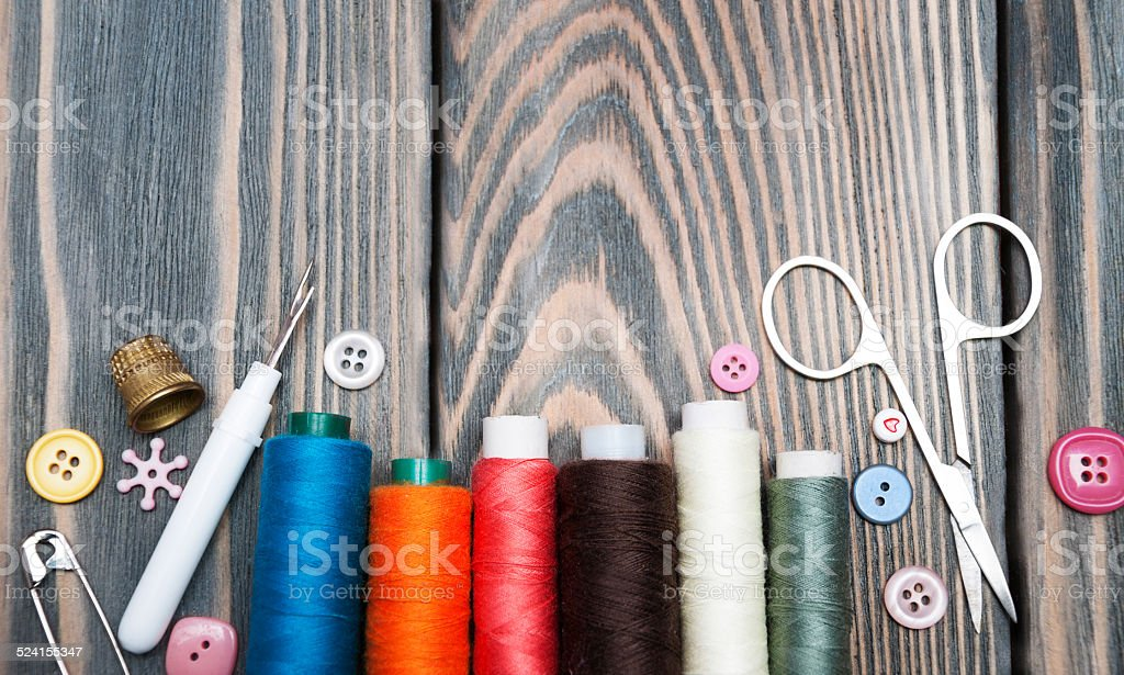Accessory of the tailor stock photo