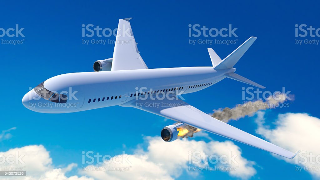 Accident aircraft stock photo