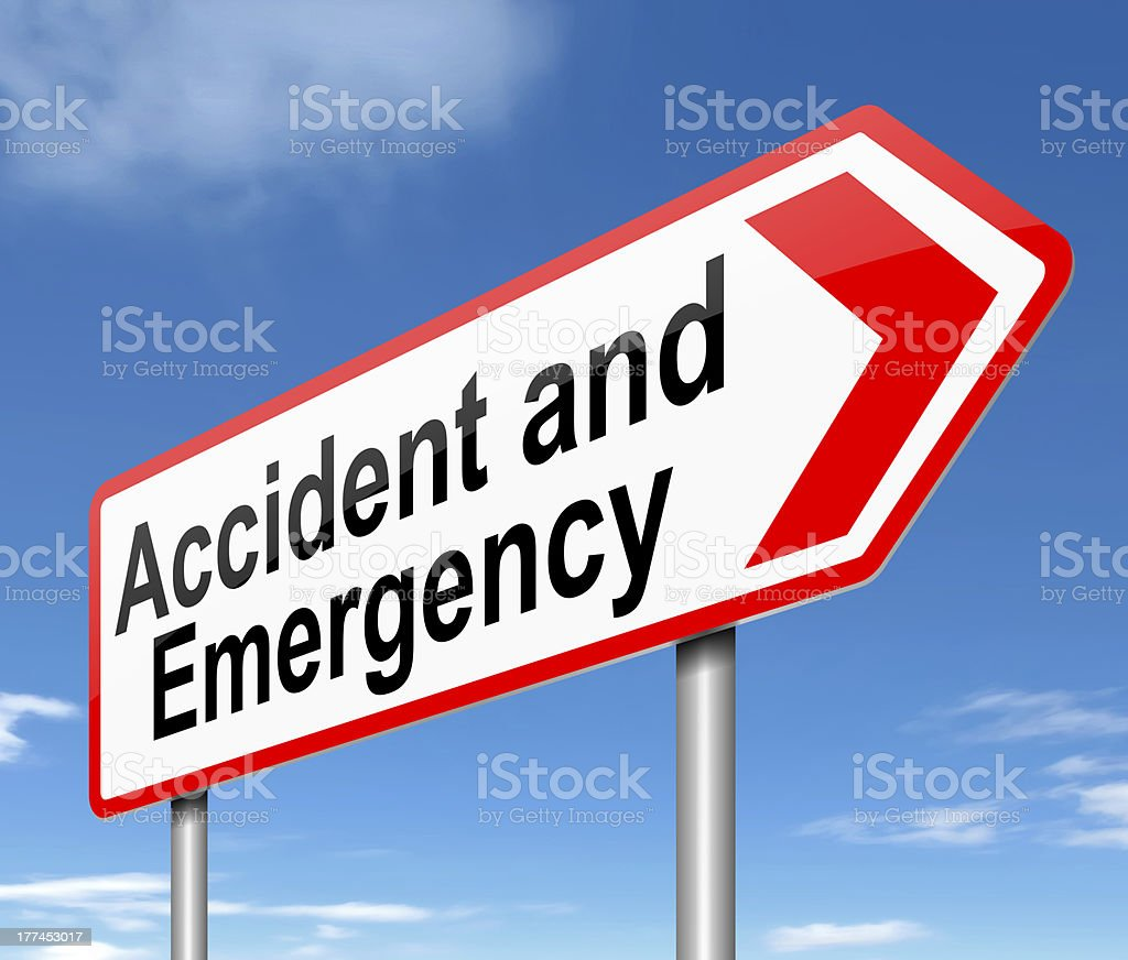 Accident and Emergency sign. stock photo