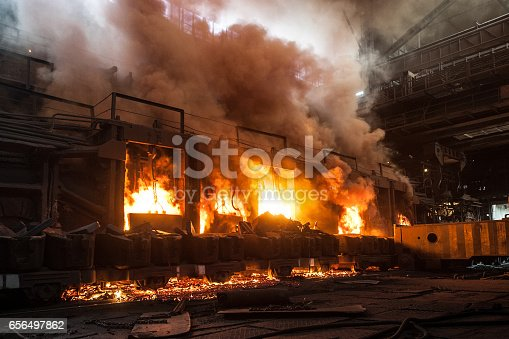 Accident at a steel mill. The production process in the steel mill.
