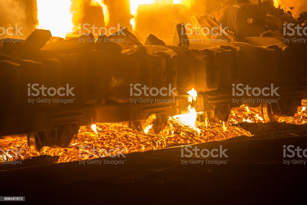 Accident at a steel mill stock photo