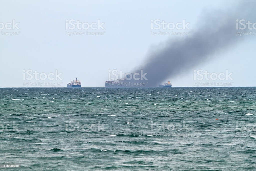 Accident at sea stock photo