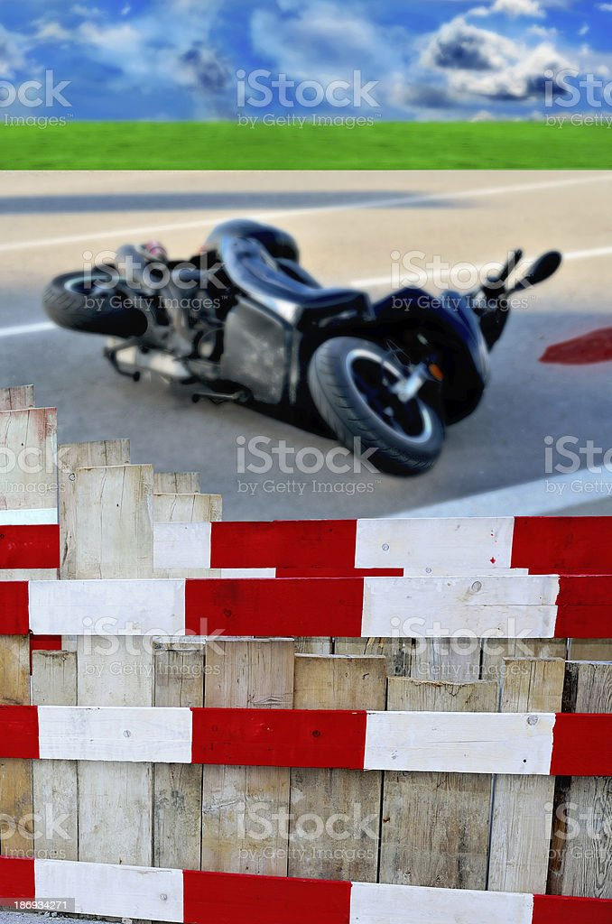 Accident barricade stock photo