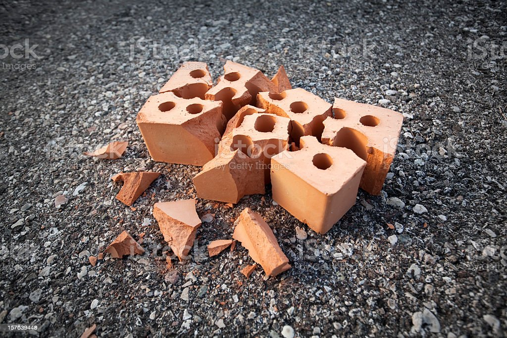 Accident. Broken brick. stock photo