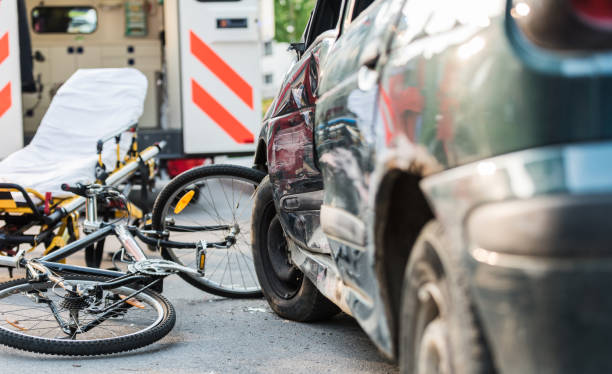 Accident Car Crash With Bicycle On Road Accident Car Crash With Bicycle On Road crash stock pictures, royalty-free photos & images